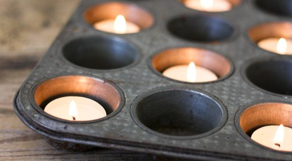Muffin tins as votive centerpieces. PineandMain, Etsy