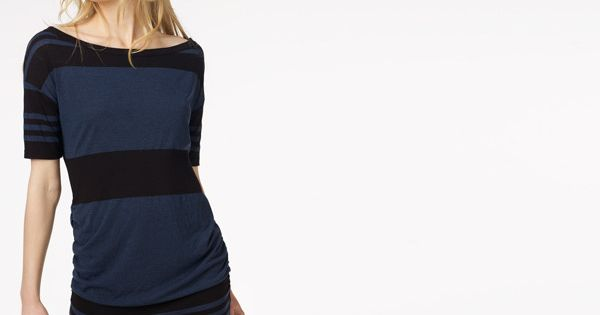 Wide Stripe Slash Neck Dress / James Perse