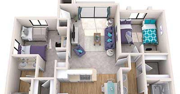 Gcu North Rim Unit C 3d Interior Rendering Student House Residence Life Interior Rendering