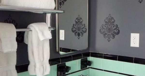 Green And Black Tile Bathroom Mint Green And Black Retro