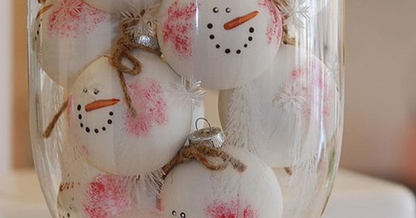DIY snowman faces using ping pong balls. Would be cute on a