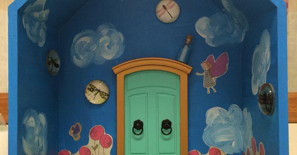 Kmart shadow box made into a fairy world fairy garden for Fairy door kmart