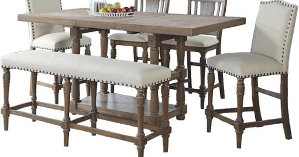Winners Only Xcalibur Limed Gray Dxt1367g Tall Dining Table And