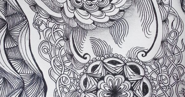 Zentangle Inspired Flowers And Vines Pen & Ink And By