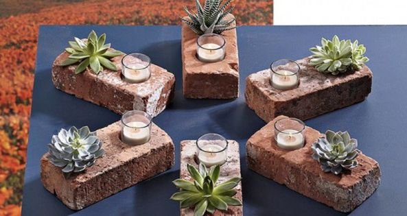 DIY Garden :: Brick Planter & Candle Holder Tutorial :: How awesome