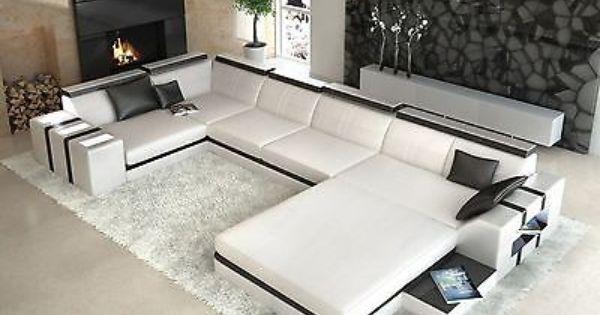 Designer Wohnlandschaft Asti U Form Weiss Schwarz Ledersofa In Mobel Wohnen Mobel Sofas Sessel Corner Sofa Design Sofa Design Leather Corner Sofa