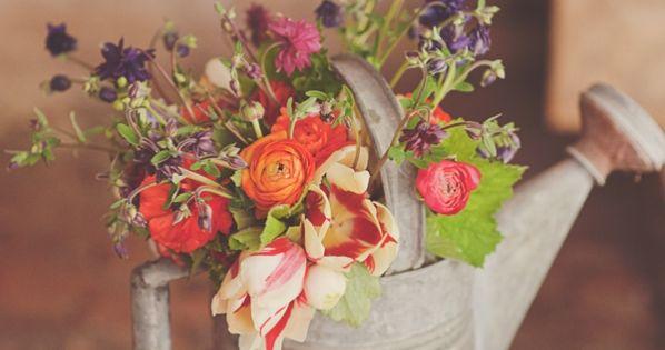 Wildflower rustic centerpiece - flowers in watering can