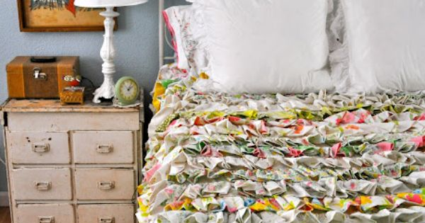 Thrift store vintage bed sheets are a fanciful DIY, reinvented as a