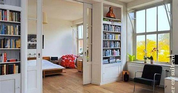 Kamer en suite als slaapkamer scheiding in een studio huis inspiratie pinterest interiors - Scheiden een kamer door een gordijn ...