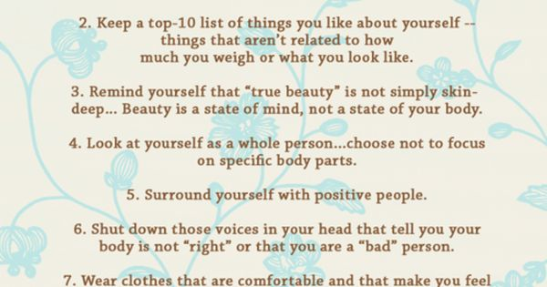 10 Steps to positive body image. Make these your 10 commandments of