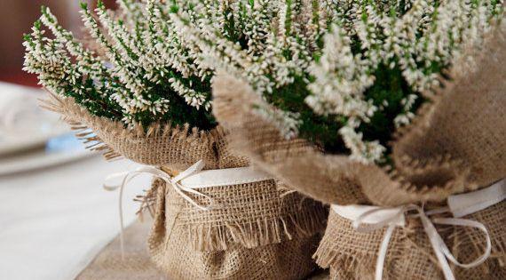 Burlap wedding plant wrap, floral centrepiece perfect favour idea - small size