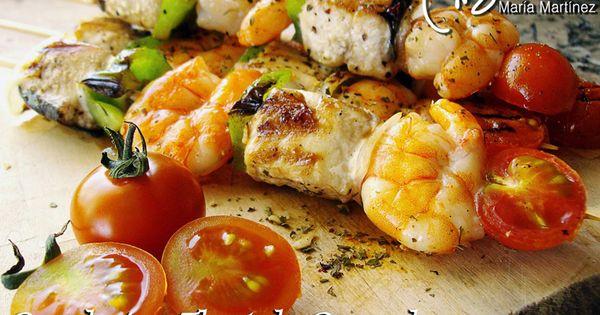 Brochetas thai de pescado y marisco producto alimentos - Aperitivos de mariscos ...