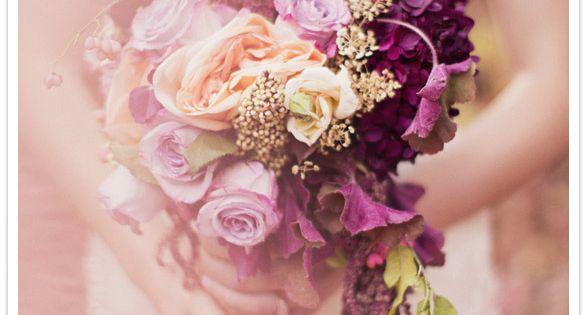 Lavender, peach and plum bouquet. Rustic & romantic bridal bouquet
