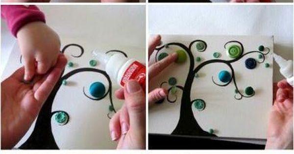 Handmade botões detalhe da árvore ilustra as etapas: a grandes jogos em
