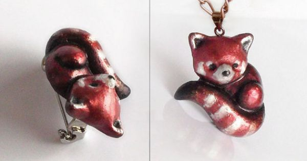 Red fox polymer clay animal brooch or pendant cute by UraniaArt