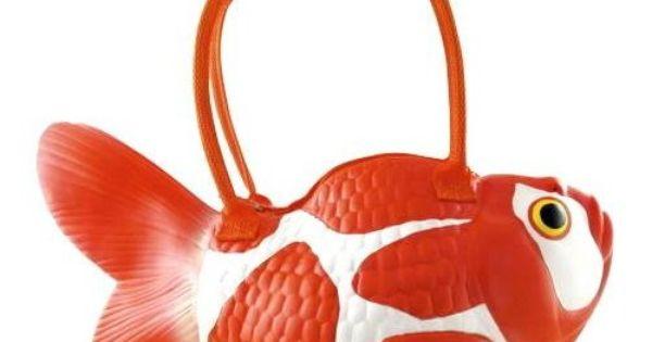Rubber Koi Fish Handbag Purse Tote Bag Pocketbook - Orange