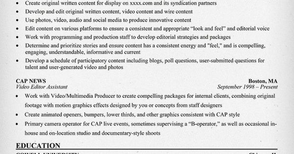 Free Video Editor Resume Example Resume Examples Pinterest   Production Editor  Resume  Video Editor Resume Sample