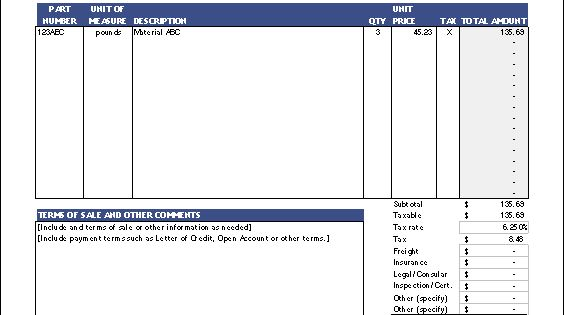 the proforma invoice template from vertex42
