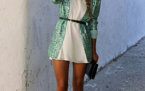 Mint green sequin blazer with white dress and heels.