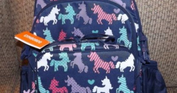 Girls Gymboree Unicorn Backpack Lunch Box Combo Set Nwt