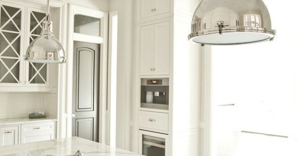 White Marble Kitchen Island, Cabinets, Floors, and Modern Industrial Nickle Lighting ...