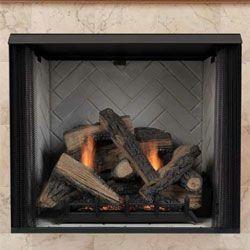 Firebox Low To Floor Herringbone Back Brick Fireplace
