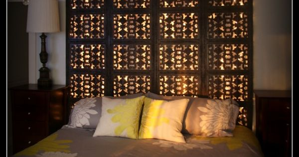Light-Up Head Board, An Indian screen room divider re-made into a light-up