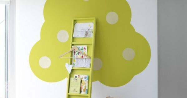 Isn't this lovely for a kids room? A painted tree, with books