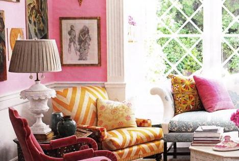 Suzie: Windsor Smith Home - Pepto Bismol Pink! White wainscoting, pink walls