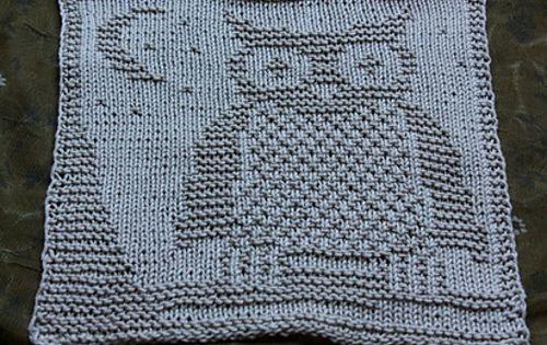 Owl Dishcloth Knitting Patterns Free : Ravelry dishcloth owl sp�li eule pattern by mamafri