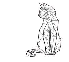 Cat Geometric Black And White Tattoo Cattattoo Black Cat Tattoos Cat Tattoo Designs White Tattoo