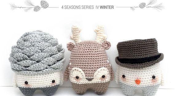 4 seasons l hiver pomme de pin reindeer bonhomme de - Bonhomme de neige au crochet ...