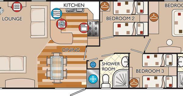 Bunk beds beds and bedrooms - New Hampshire Classic 40 X 16 3 Bed Sleeps 6 Floor Plan