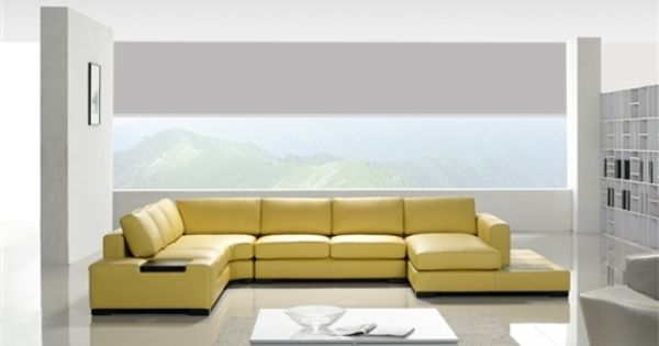 Modern Yellow Leather Sectional Sofa Tos Lf 2029 Yel Leather Couches Living Room Leather Sectional Sofa Yellow Leather Sofas