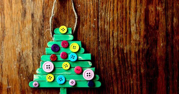 handmade photo ornament ideas - spoonful Christmas Craft Popsicle Stick Tree Ornament
