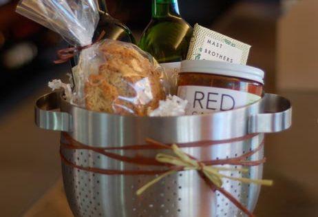 Housewarming gift idea: Pasta Night (strainer, pasta, sauce, wine, tongs, EVOO, maybe