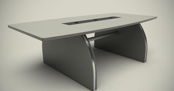 Mesa directorio en melamine color gris claro y gris acero con accesorios de aluminio y sistema - Color gris acero ...