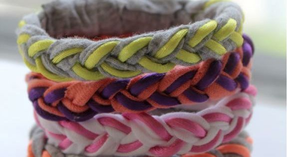 DIY BRAIDED T-SHIRT BRACELETS diy bracelets