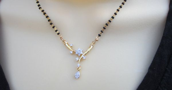 Mangalsutra With Cz Pendant Black Beads Chain Wedding By