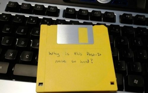Why is this Post-It note so hard? humor floppydisk postit