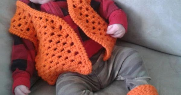 Crochet baby hunting outfit - Blaze orange cap, vest and ...