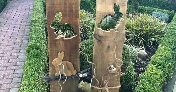 Gartenstelen basteln deko garten selber machen holz kunstrasen garten stelen pinterest - Kunstrasen zum basteln ...