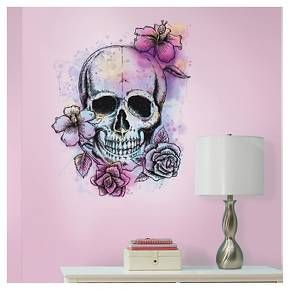 Roommates Bright Floral Skull Peel Stick Giant Wall Decals Target Skull Wall Art Floral Wall Sticker Floral Wall Decals