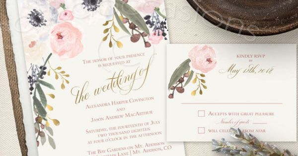 Watercolor Floral Wedding Invitations Printable Blush And