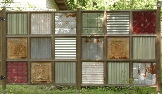 Fence made from old tin ceiling tiles!