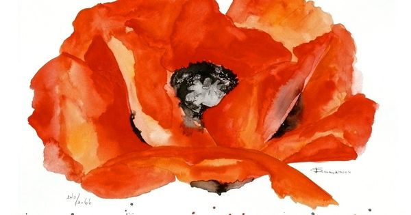 This poppy painting would brighten any room. I am obsessed with poppy
