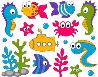 Instant Download 42 Cute Sea Animal Clip Art Cartoon Sea Animals Digital  Scrapbooking Fish Element 0165 | Cartoon sea animals, Sea animals, Animal  clipart