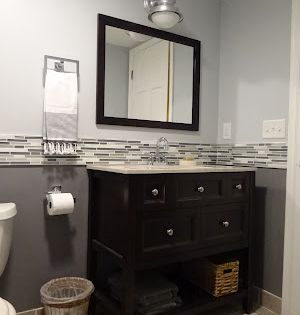 One Project At A Time Diy Blog Bathroom Backsplash Bathrooms Remodel Small Bathroom Remodel