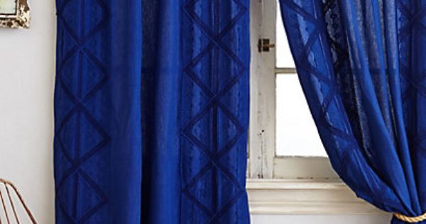 Appliqued Lace Curtain Royal Blue Curtains Blue Shower