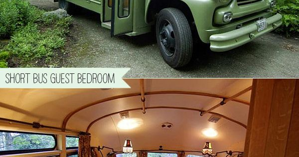 REPURPOSED - Turn Vintage Short Bus Into Backyard Guest Bedroom. travelling camping